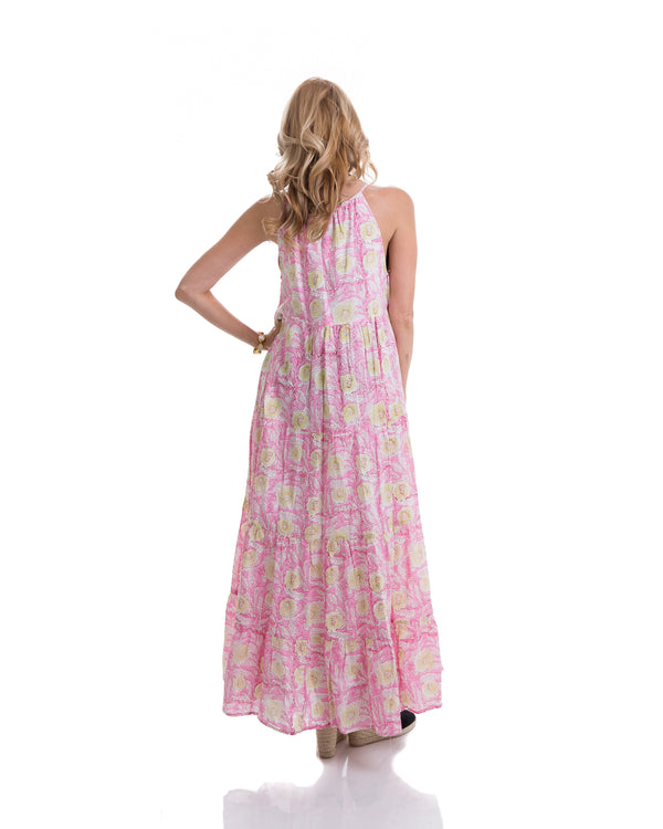 Sustainable hand block printed tiered, sleeveless, ankle length summer dress (pink & yellow)