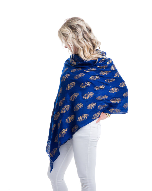 Light weight cashmere shawl with pineapple motif in gold block printed all over the shawl. This shawl is offered in several colors.