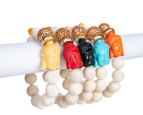 The Peace Bracelet (White Lava Buddha Bracelet)