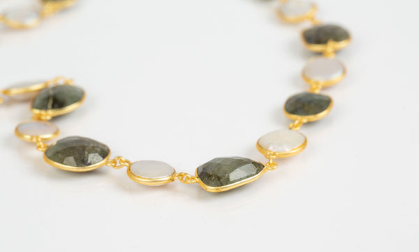 Mia Necklace (Tourmaline & Flat Pearls)