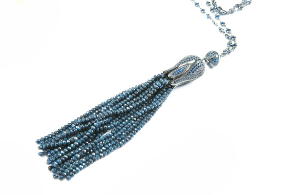 Sophia Tassel Necklace (Blue)