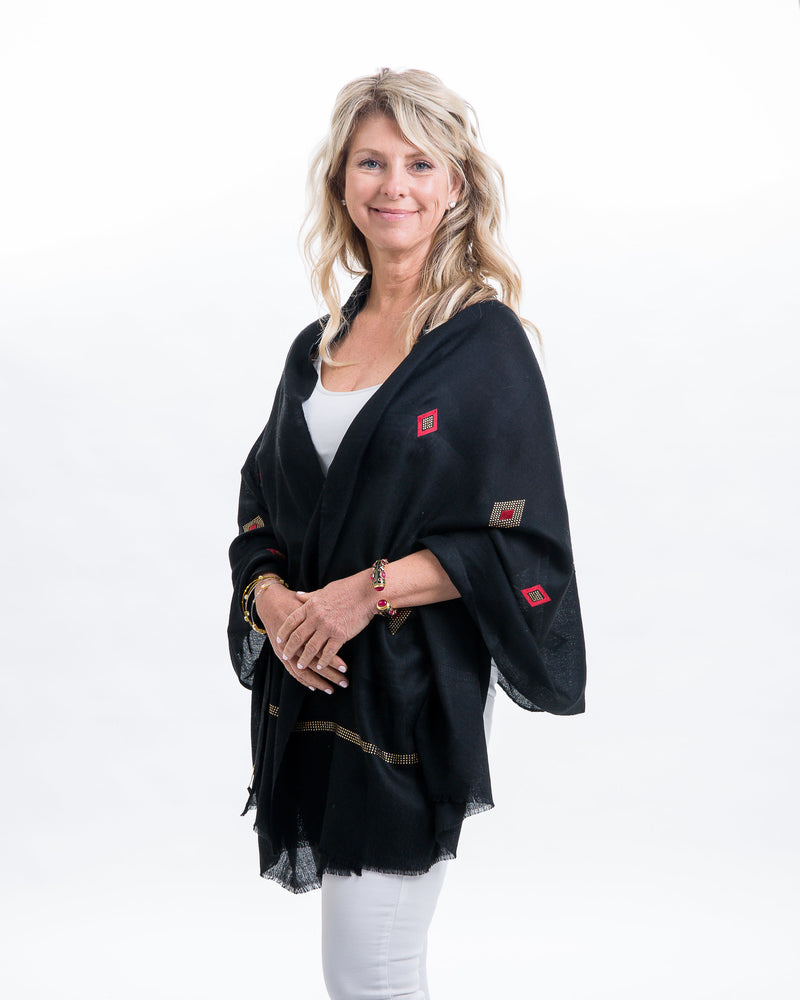 Light weight pashmina shawl with gold Swarovski & diamond shaped velvet detail work on entire shawl.Swarovski detail at the edge of the shawl. Various color options available.
