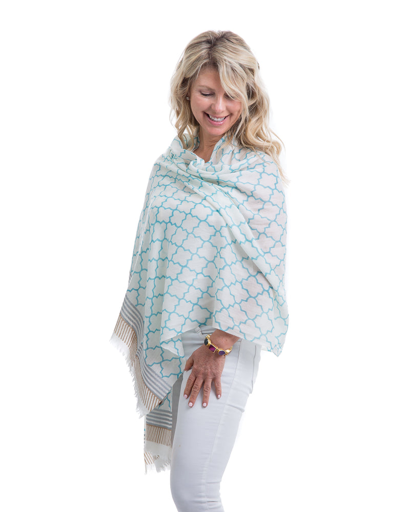 The Jupiter Shawl is a lightweight cashmere with a window pane block print, this shawl is the summer-meets-fall must-have this season. Perfect for keeping warm on cool mornings or during chilly evenings,