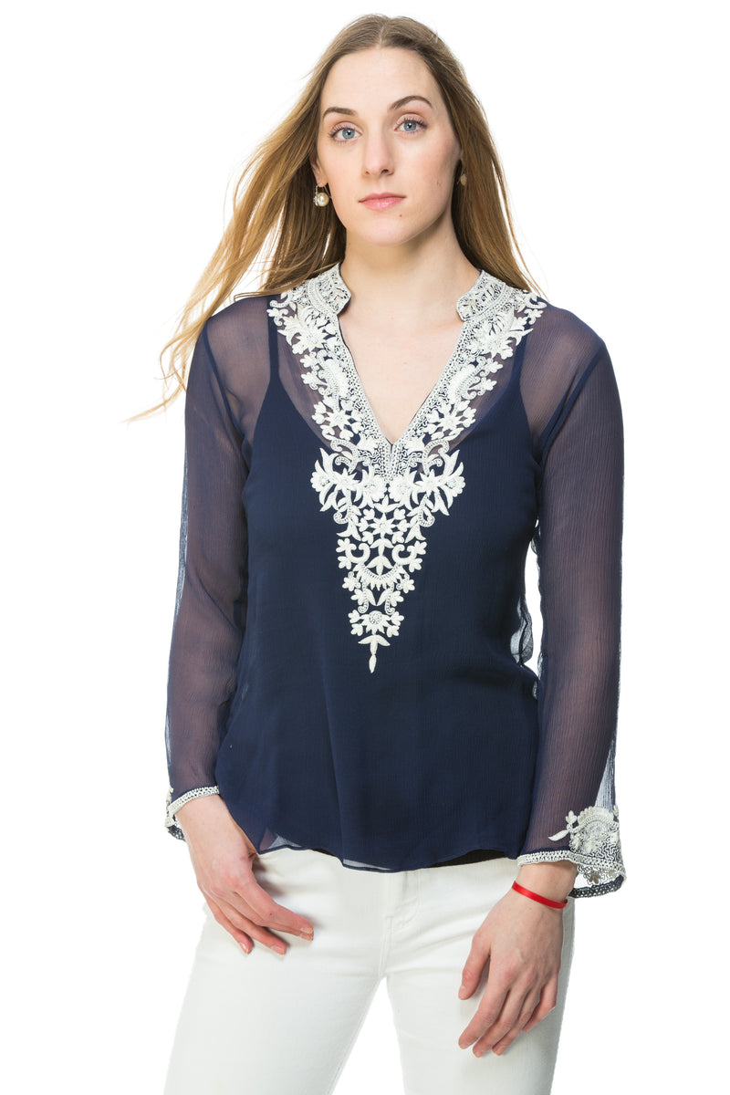 Silk chiffon tunic available in navy with white silk thread and bead embroidery and nude with black silk thread and bead embroidery. Embroidery detail around the neck and sleeves of the tunic. This is a sheer tunic.