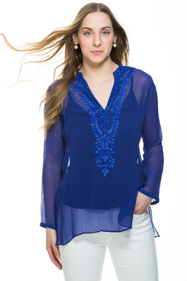 Cobalt or charcoal silk chiffon sheer tunic with  silk thread and bead embroidery along neckline, cuff of sleeve and a motif at the back of the tunic.