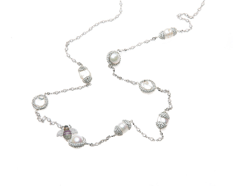 Mira Bee Necklace (White Gold)