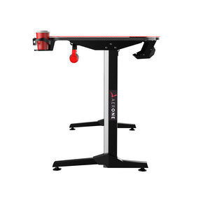 bureau gamer aerone cyber pieds fixes renforces pas cher table gaming revetement carbone porte gobelet