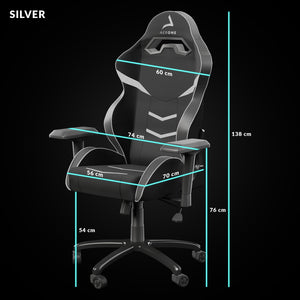 taille siege gaming silver ice blanc aerone
