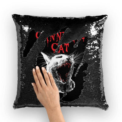 Personalized Cannibal Cat Sequin Pillow Cover-Homeware-Brutal Kittens