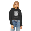Kittymoth God=Cat Women's Cropped Raw Edge Hoodie