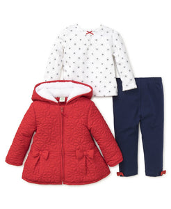 Red Flowers Jacket Set