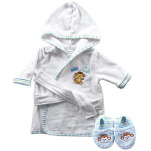 BATH ROBE WITH SLIPPERS - WOVEN TERRY