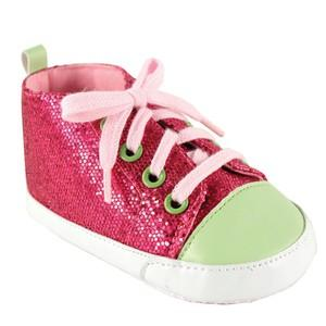 LUVABLE FRIENDS SPARKLY SNEAKER, PINK WITH PINK LACES
