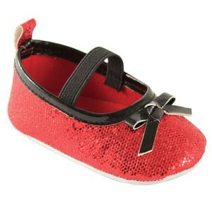 LUVABLE FRIENDS SPARKLY BADGE SOLE MARY JANE CRIB SHOES