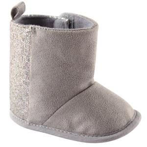LUVABLE FRIENDS WINTER BOOT WITH GLITTER, GRAY, 0-6 MONTHS