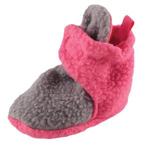 SCOOTIES FLEECE GIRLS BOOTIES BY LUVABLE FRIENDS, GRAY AND PINK