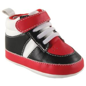 BASKETBALL SNEAKER FOR BABY, BLACK-RED