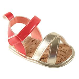 LUVABLE FRIENDS GIRLS BRIGHT STRAPPY SANDALS, CORAL AND GOLD
