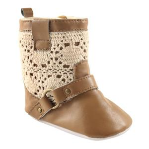LUVABLE FRIENDS CROCHET LACE BOOT , TAN, 0-6 MONTHS