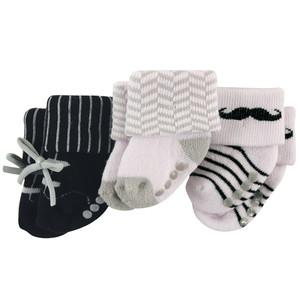 LUVABLE FRIENDS 3-PACK NEWBORN TERRY SOCK, NON-SKID, MUSTACHE