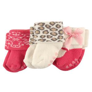LUVABLE FRIENDS 3-PACK NEWBORN TERRY SOCK, NON-SKID, LEOPARD