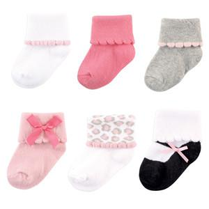 LUVABLE FRIENDS 6 PAIR DRESSY CUFF SOCKS