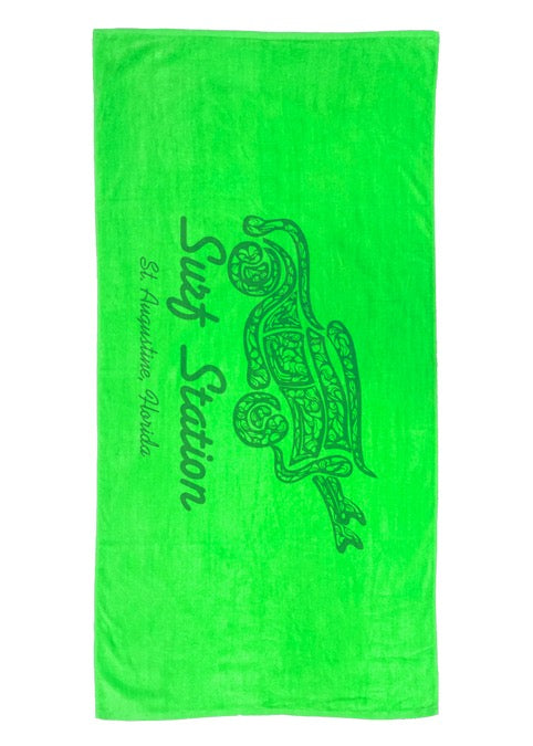 Surf Station Terry Velour 30 X 60 Beach Towel - Lime Green