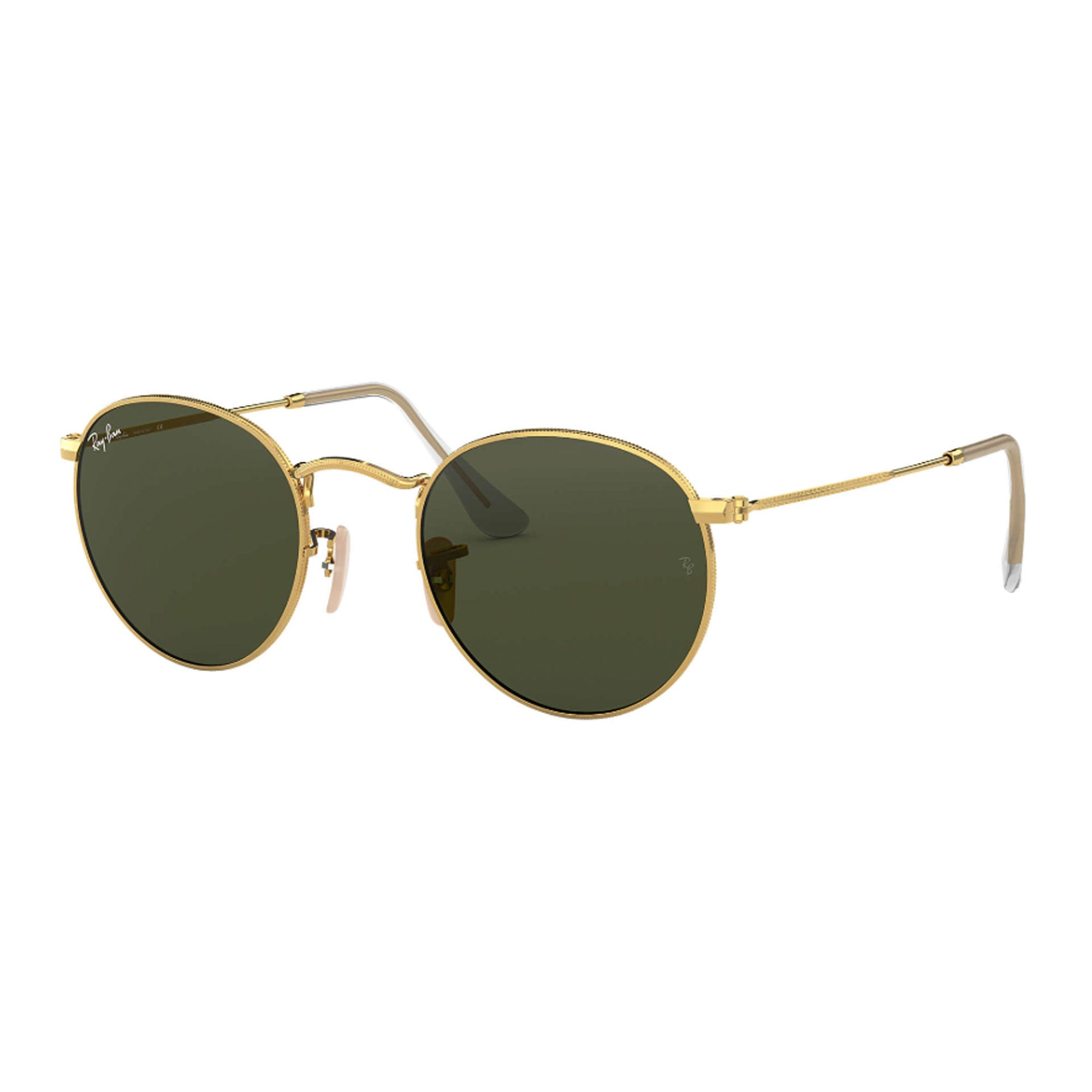 Ray-Ban Round Metal Men's Sunglasses - Gold/Crystal Green