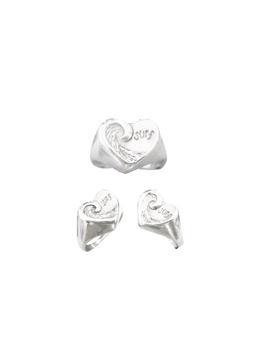 Strickly Boarding Heart Wave Women's Ring - Sterling Silver