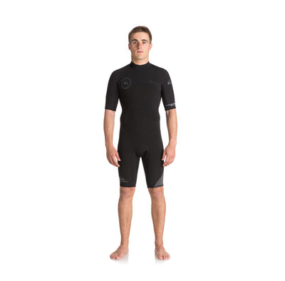 Quiksilver 2/2mm Syncro Series Short Sleeve Back Zip FLT Springsuit Black