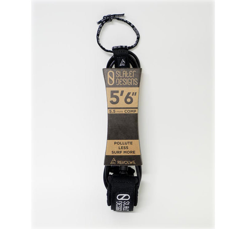 Slater Designs 5'6 Comp Surfboard Leash - Black