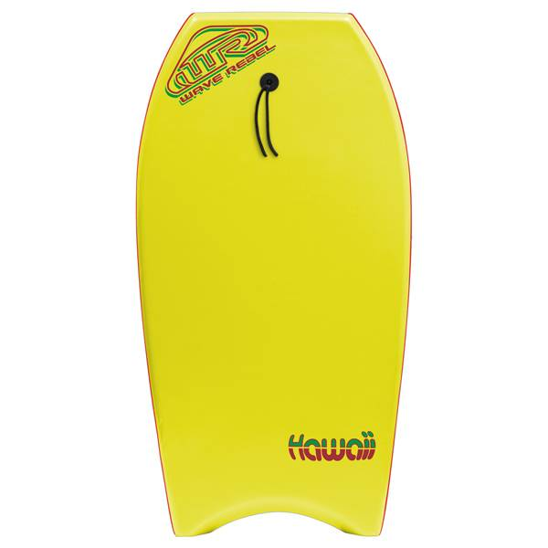 Wave Rebel Hawaii 42 Bodyboard (Leash Included) - Yellow