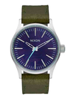 Nixon Sentry 38 Women's Leather Watch - Olive Band/Purple Face
