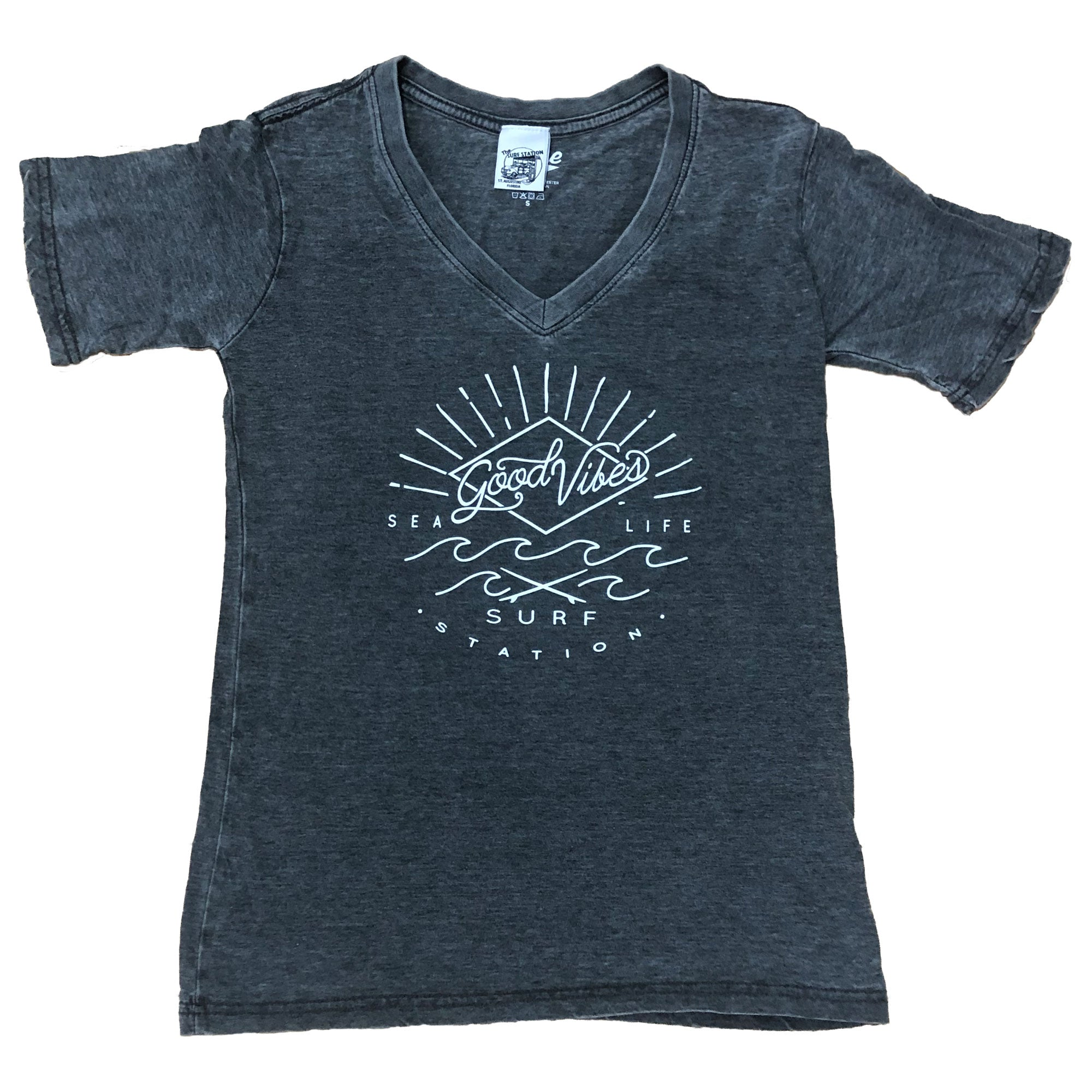 Surf Station Good Vibes Women's V-Neck T-Shirt