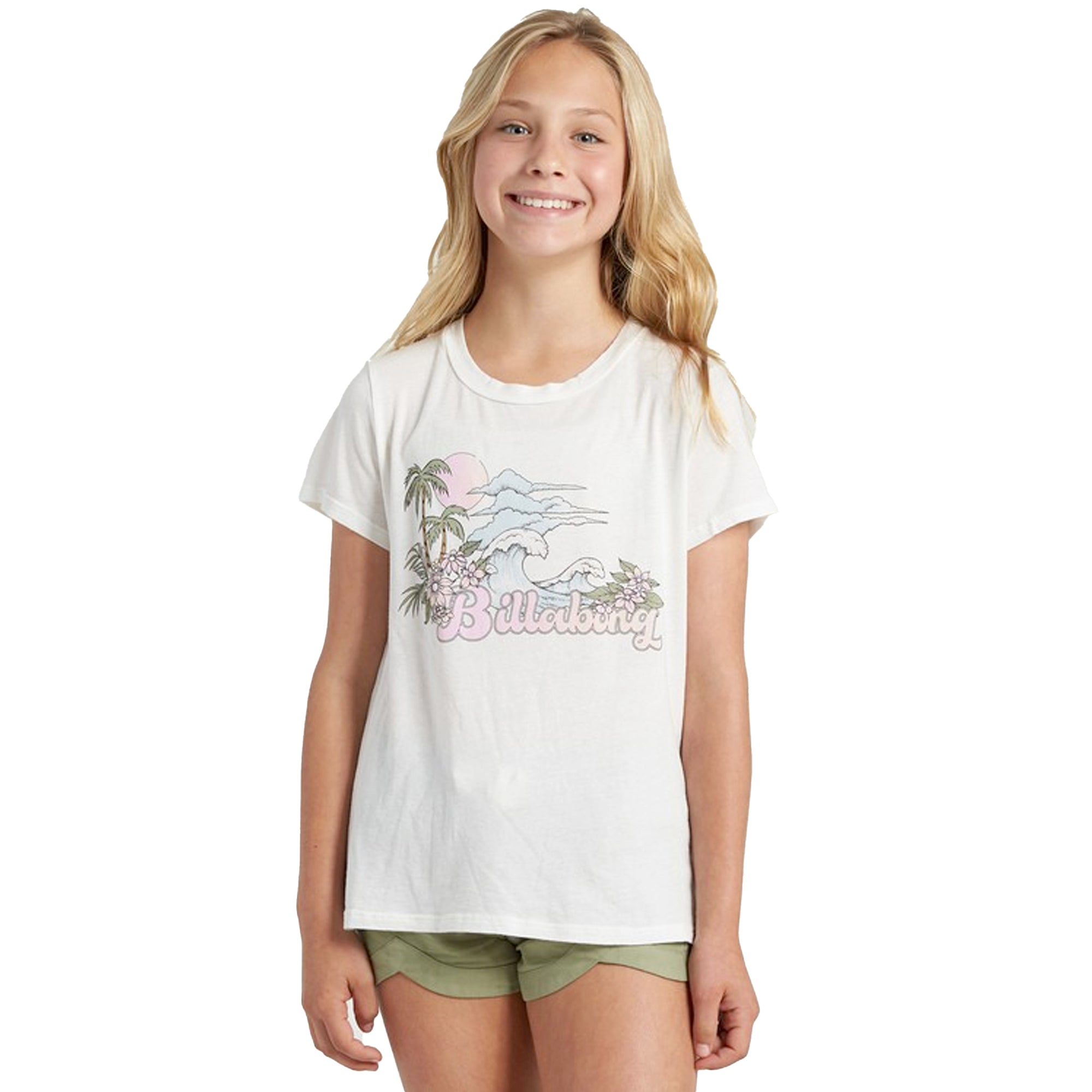 Billabong Vintage Postcard Youth Girl's S/S T-Shirt