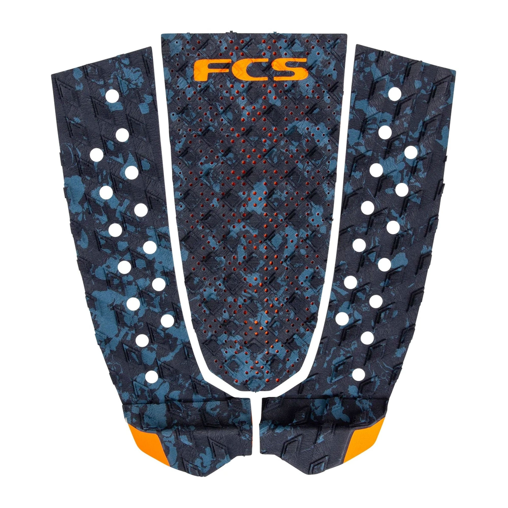 FCS T-3 Essential Series Flat Traction Pad - Blue Fleck/Orange