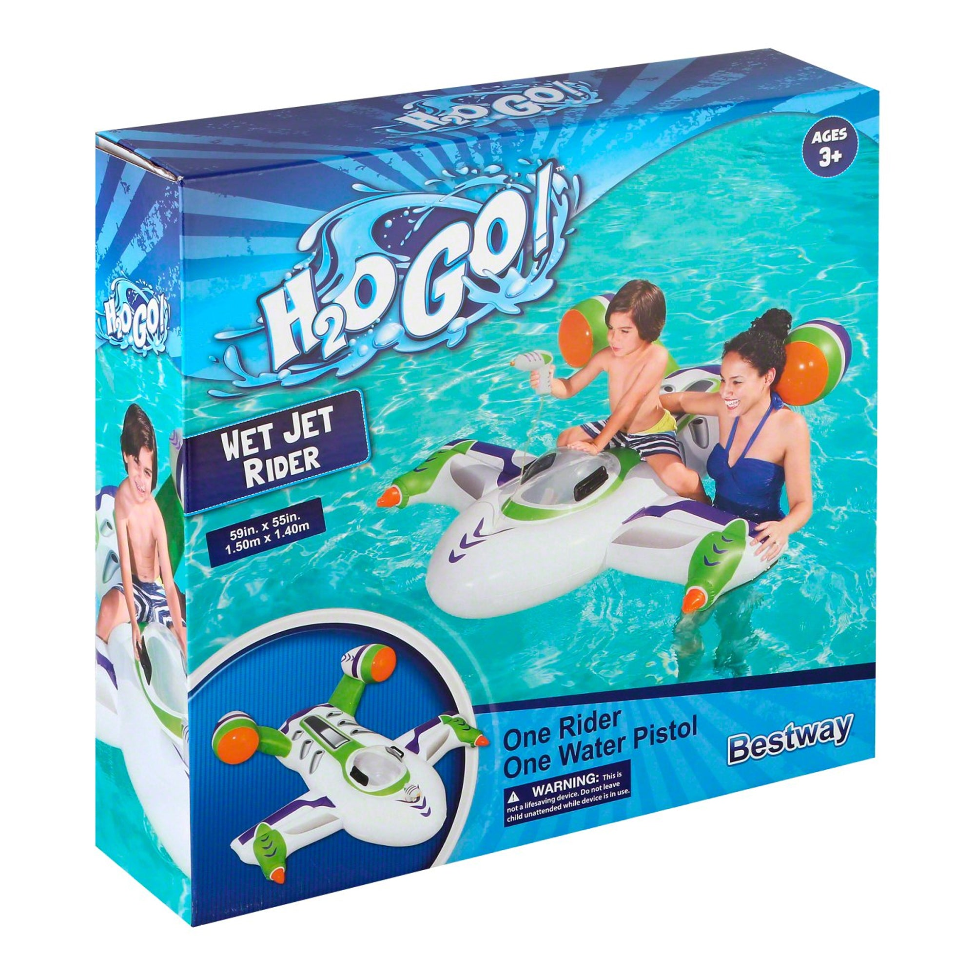 H2OGO! Wet Jet Rider Inflatable Pool Float w/ Water Pistol