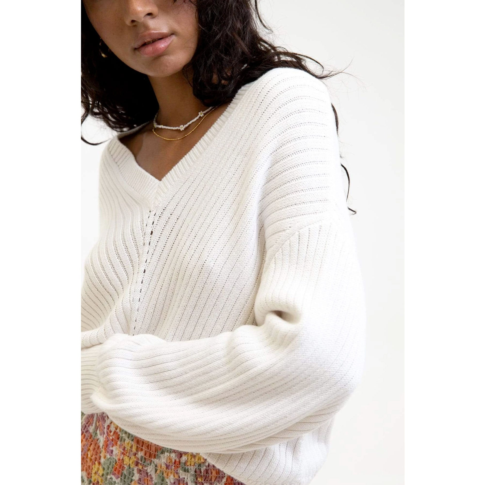 Rhythm Skyline Women's Knit Sweater - White