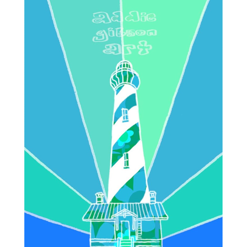 Addie Gibson Art Blue Lighthouse Print