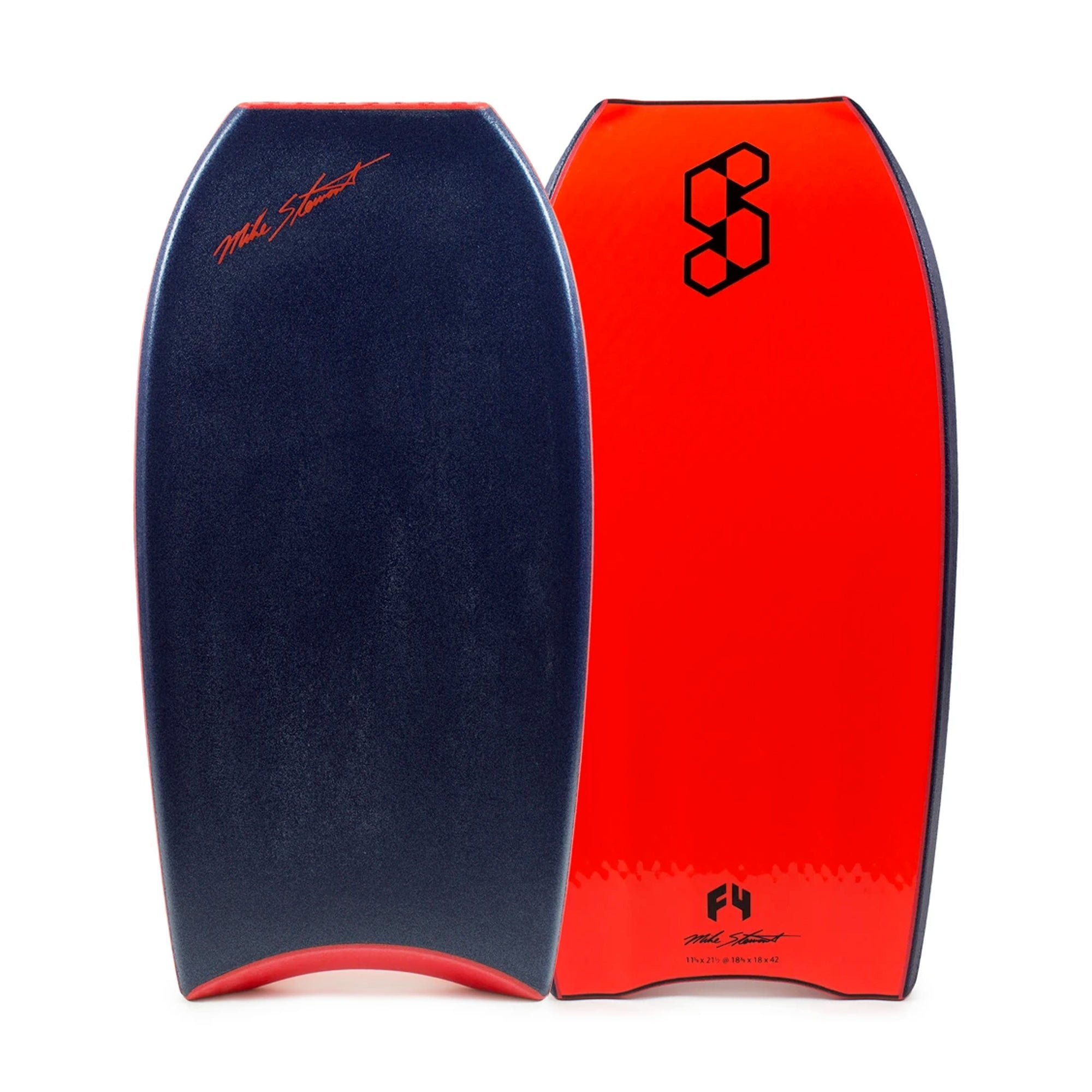 "Mike Stewart Science Style Loaded QV F4 42"" Bodyboard - Midnight Blue/Fluro Red"