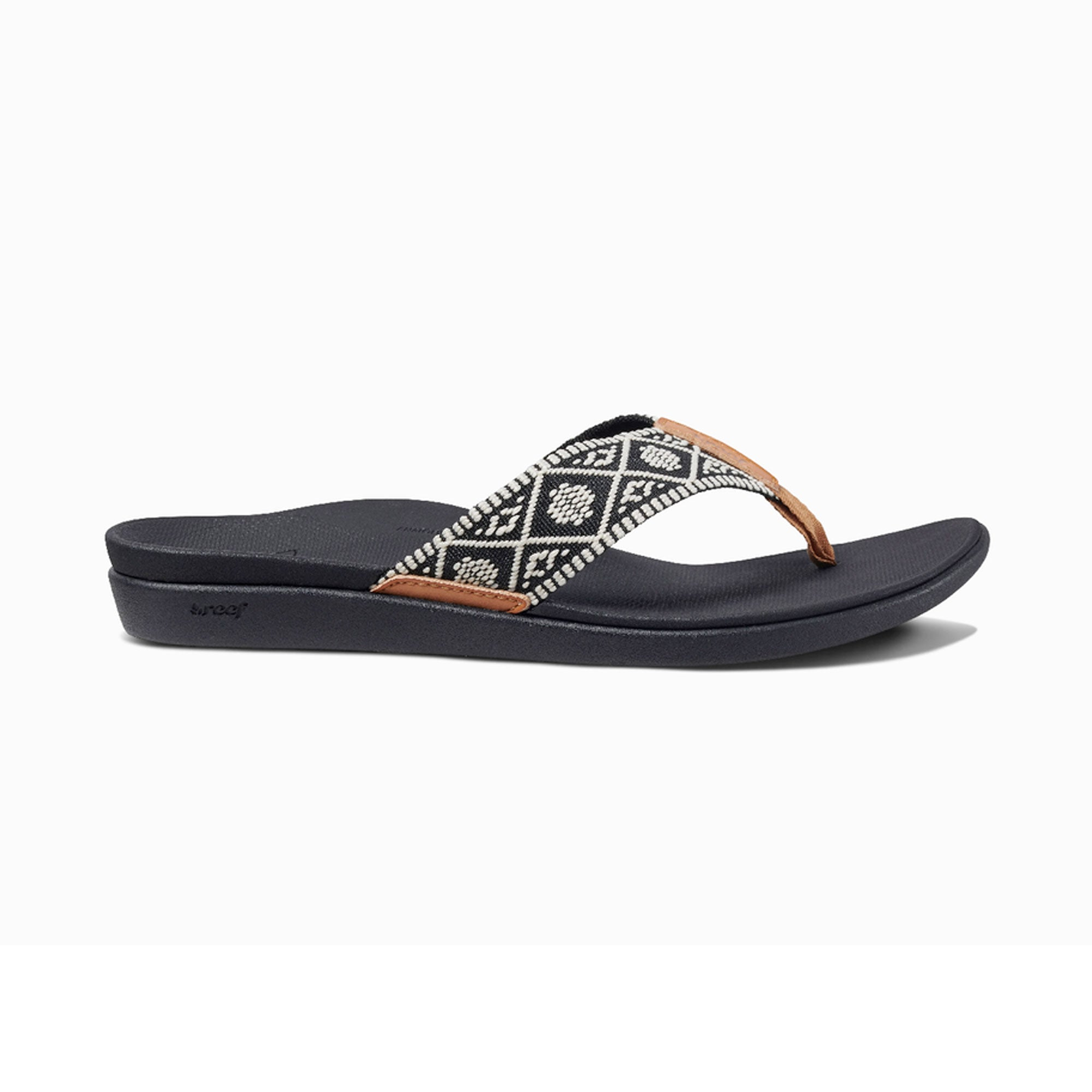 Reef Ortho-Bounce Woven Women's Sandals - Black/White
