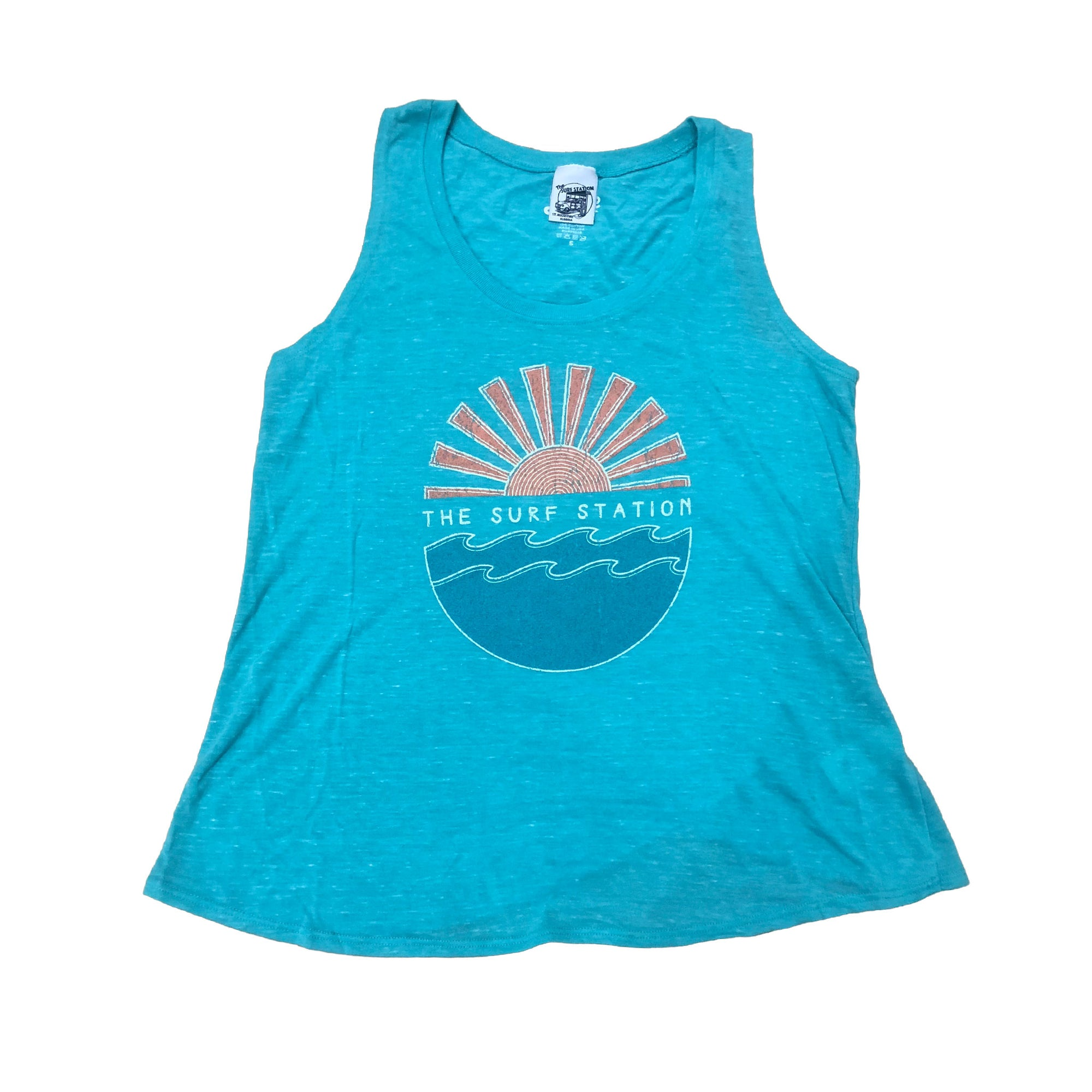 Surf Station Ground Swell Sun Rise Women's Muscle Tank Top Aqua