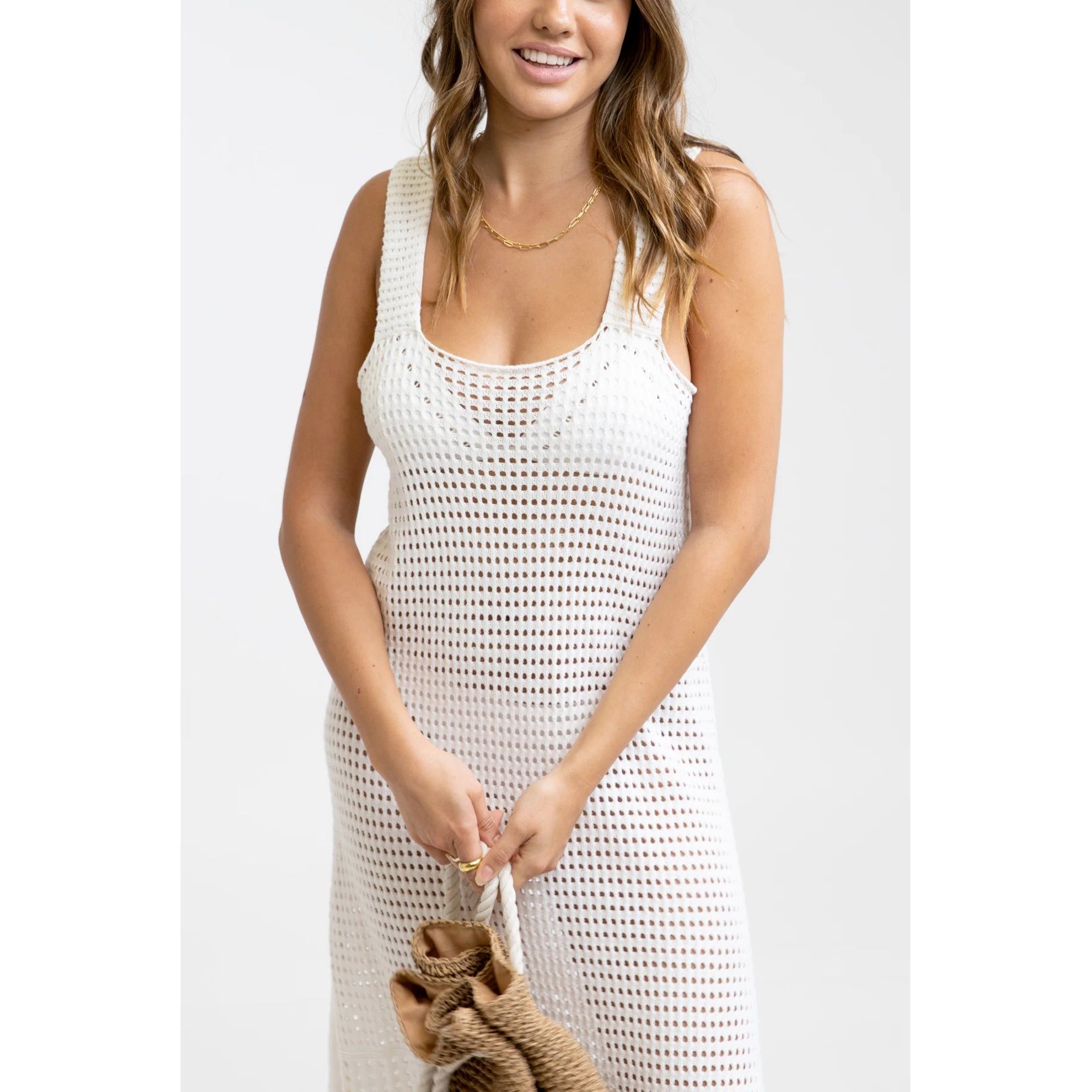 Rhythm Slip Crochet Midi Women's Dress