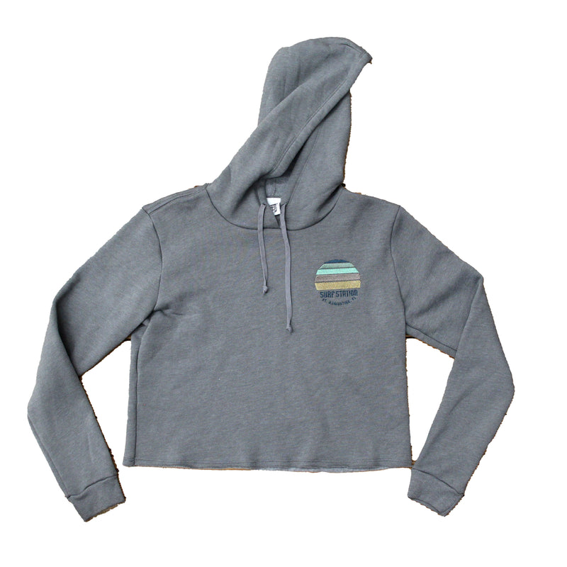 Surf Station Sunset Women's Cropped Fleece Hoodie