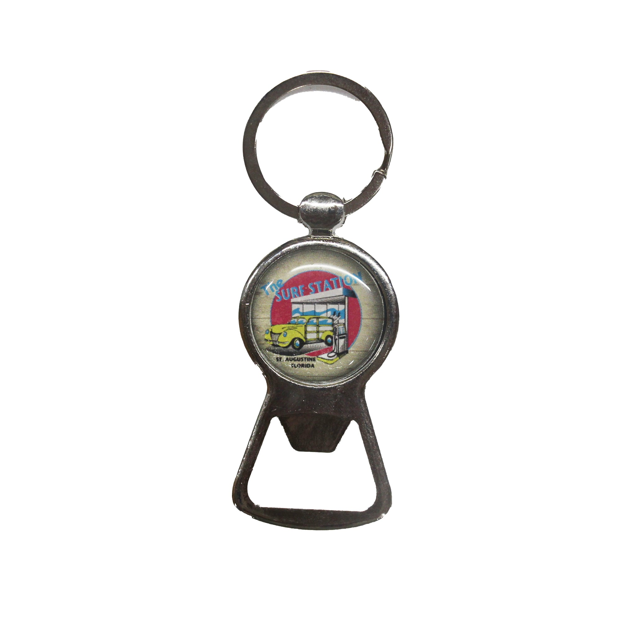 Surf Station Woody Bottle Opener Keychain