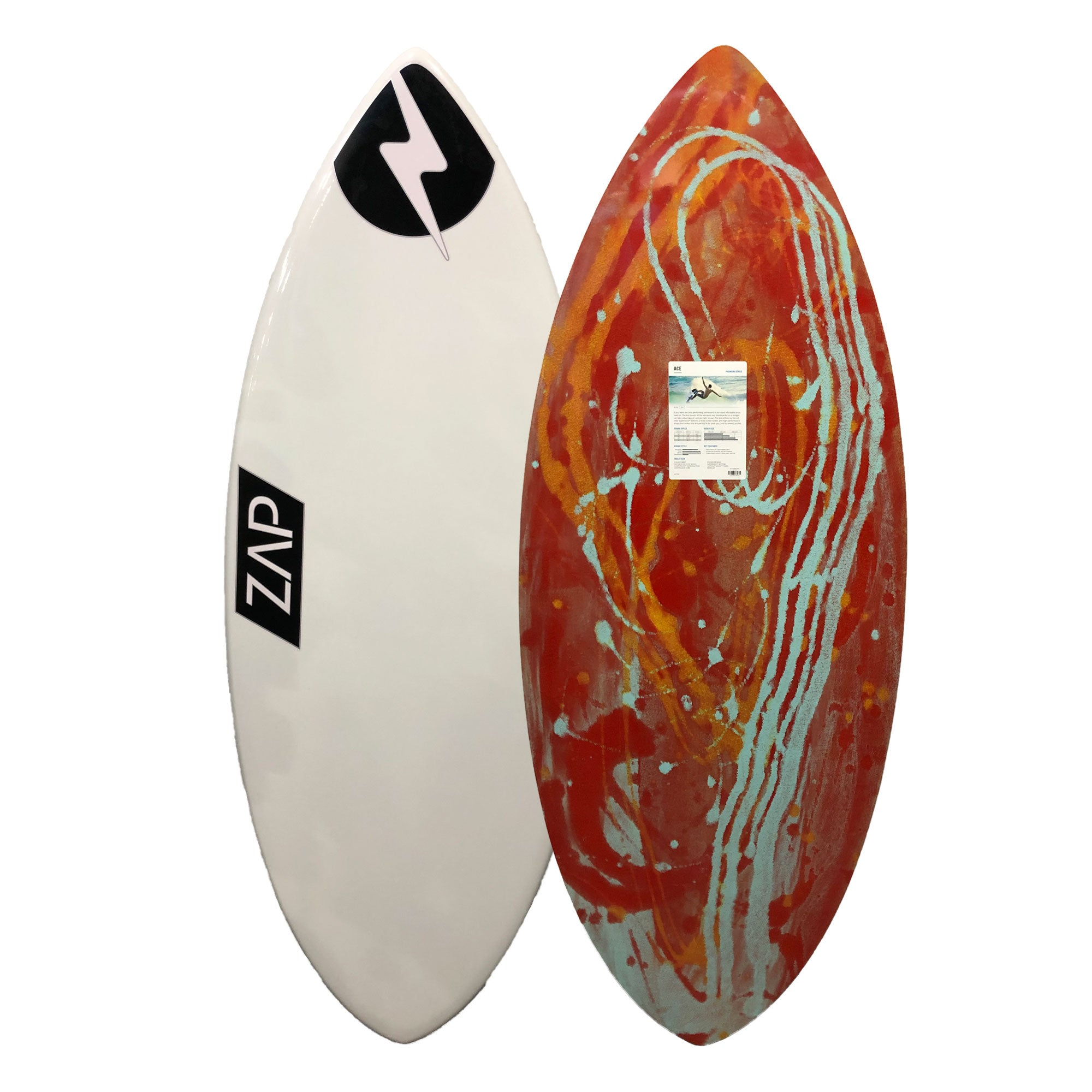 "Zap Ace 54"" Skimboard - White / Red-Orange-Blue Swirl"