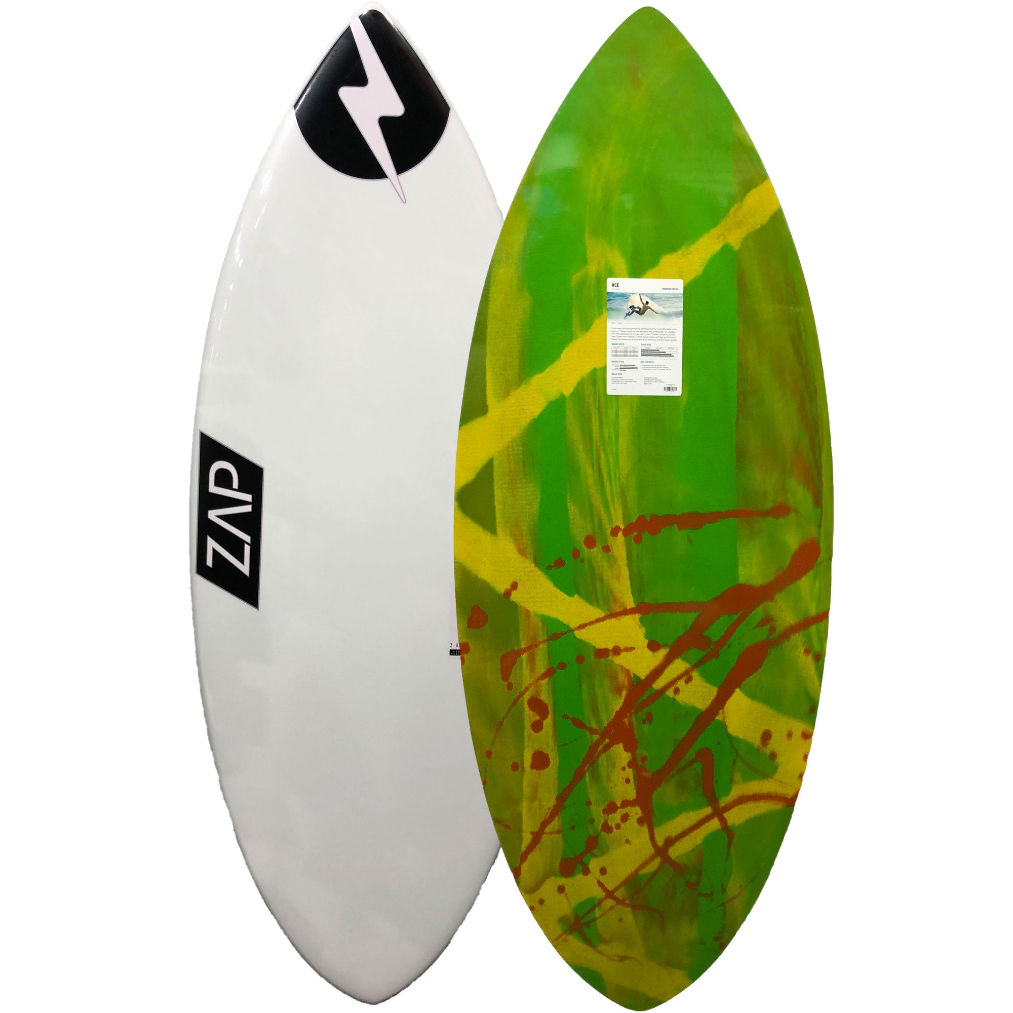"Zap Ace 56"" Skimboard - White / Green-Yellow-Orange"