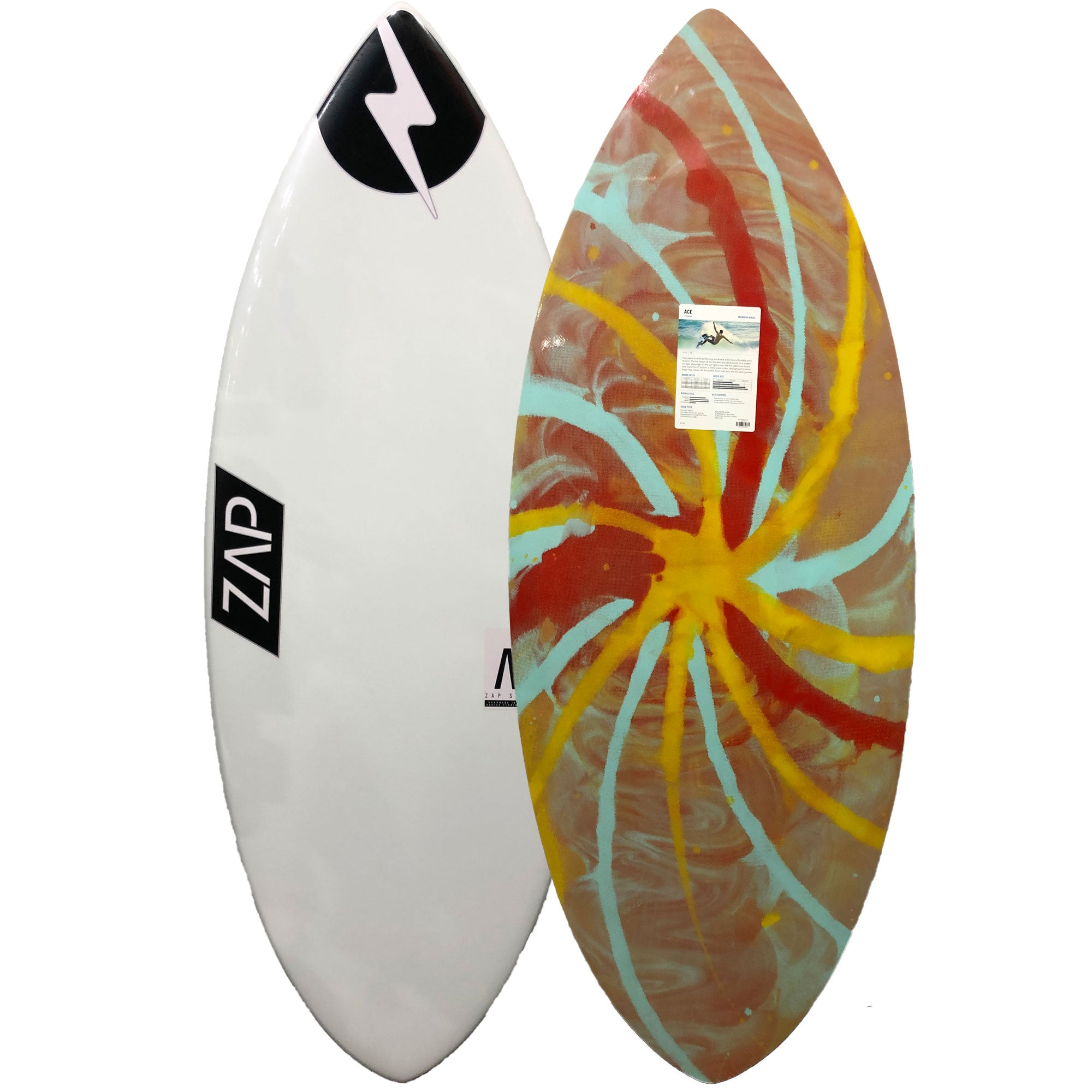 "Zap Ace 56"" Skimboard - White / Yellow-Blue-Red Pinwheel"