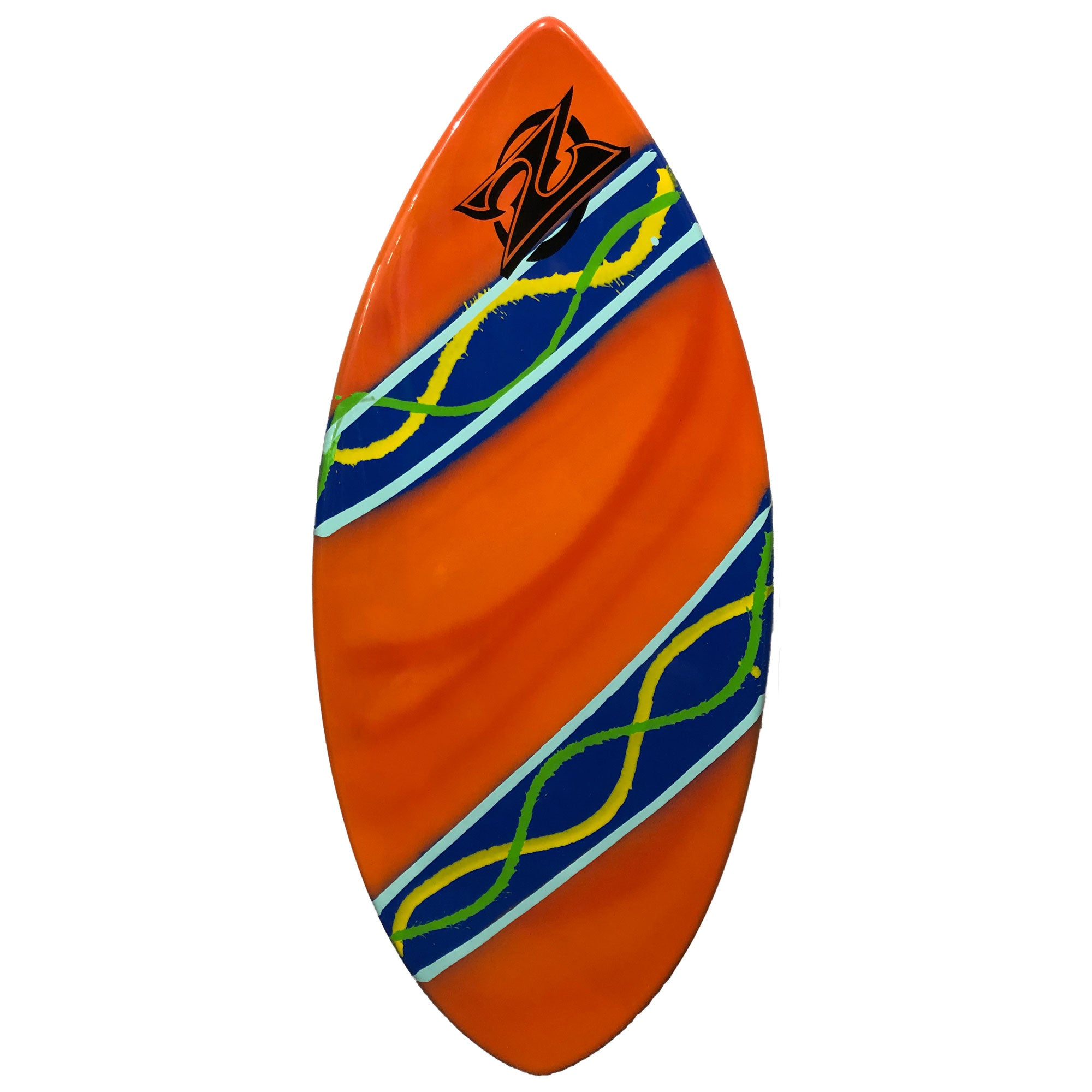 "Zap Wedge 45"" Skimboard - Orange w/ Blue Stripes"