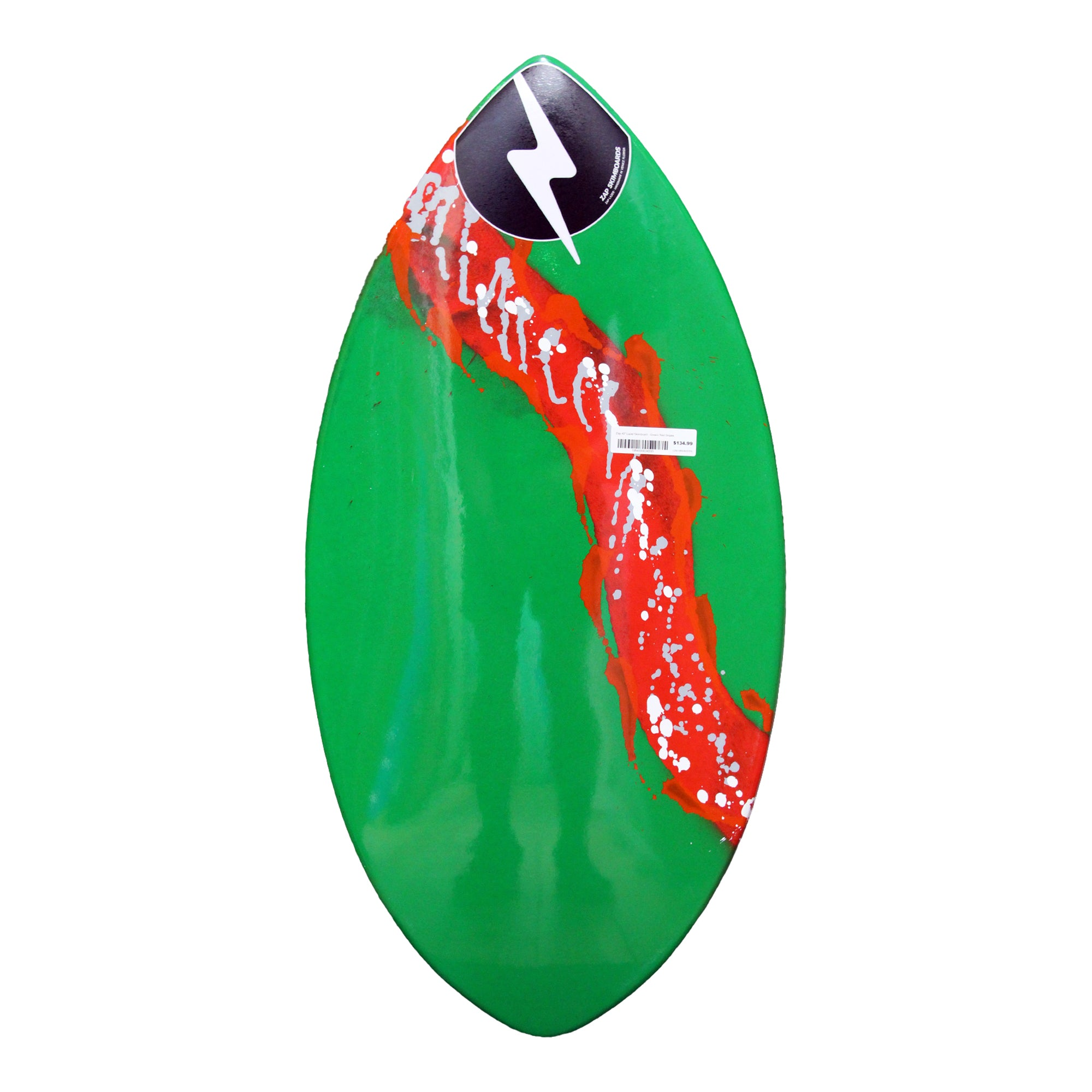 "Zap 40"" Lazer Skimboard - Green/Red Stripe"